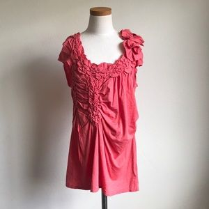 NWOT Anthropologie Rouched Coral Top